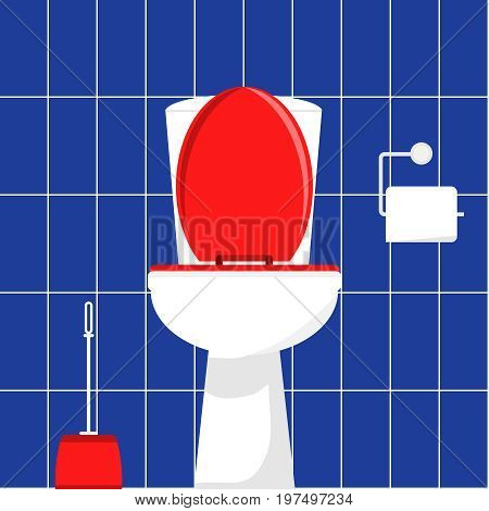 White toilet bowl brush for cleaning the toilet and toilet paper. Flat design vector illustration vector.