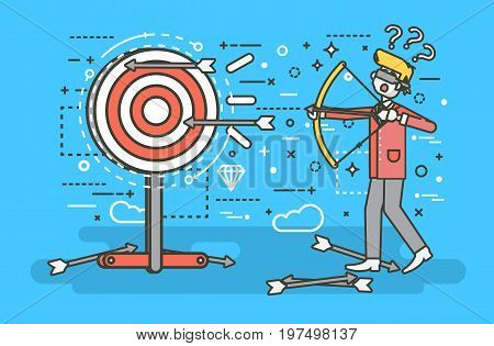 Stock vector illustration businessman hits target unsuccessful shot from bow regression wrong solution business failure marketing unachievable unlucky idea non-progress loss start-up in line art style.