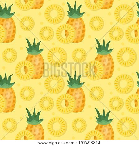 Pineapple seamless pattern. Ananas slices endless background, texture. Fruits background. Vector illustration