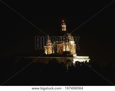 Basilica Di Superga In Turin At Night