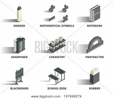 Simple Set of 3D Isometric Icons. Contains such Icons as marker mathematical symbols notebook sharpener chemistry protractor blackboard school desk rubber.