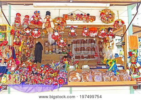KYIV, UKRAINE - MAY 01, 2017: Shops with Ukrainian souvenirs in fan zone for international song competition Eurovision-2017 near Sofia square