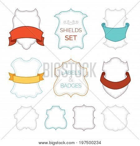 Vector Set Of Badges, Labels, Shields And Ribbons.