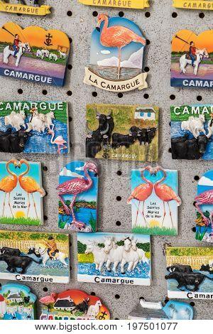 Souvenir Magnets From Camargue Park On Delta Rhone River, France