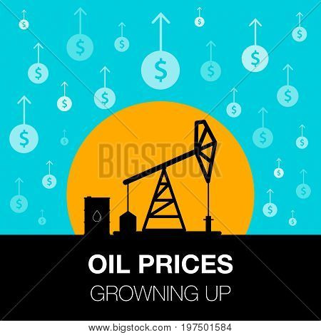 Oil Industry Concept. Oil Price Growing Up With Dollar Coin And Petroleum Pump.