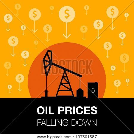 Oil Industry Concept. Oil Price Falling Down With Dollar Coin And Petroleum Pump.