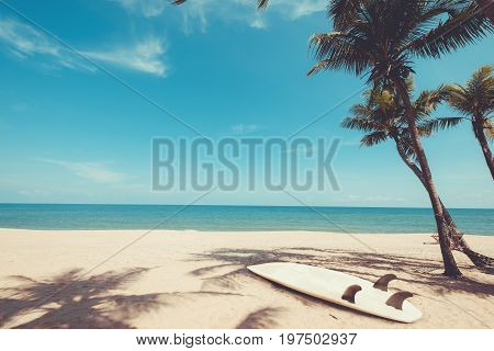 Surfboard on tropical beach in summer. landscape of summer beach and palm tree with sea blue sky background. Vintage color tone