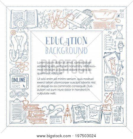 Vector Doodles Education Frame.