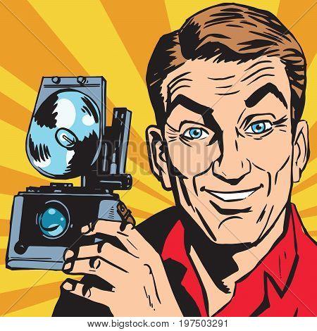 avatar portrait of man with retro camera. Pop art retro vector illustration