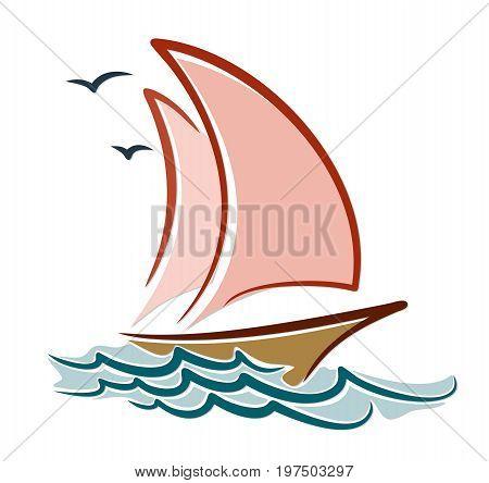 A sailing vessel sketch in the sea.