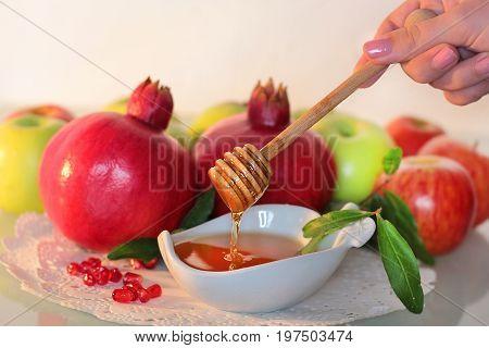honey and pomegranates, traditional foods to celebrate jewish new year - holiday of Rosh Hashanah