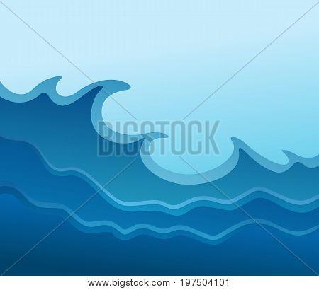 The blue deep sea with big waves.