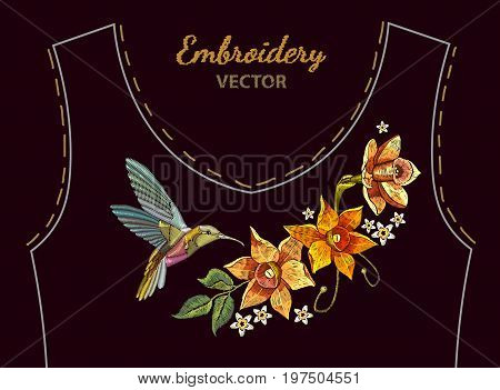 Humming bird and narcissus embroidery simplified ethnic neck line. Beautiful hummingbird and yellow narcissus embroidery on black background. Fashion clothes design textiles t-shirt design