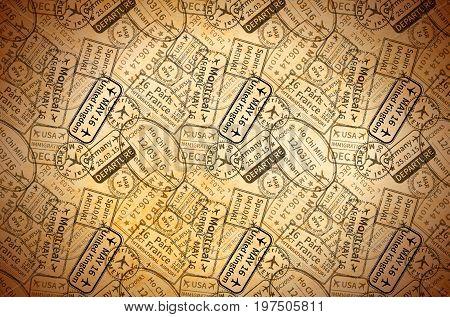 Black International travel visa rubber stamps imprints on old paper, horizontal vintage background