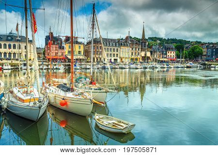 Amazing famous harbor with sailing boats and luxury yachts Honfleur Normandy France Europe