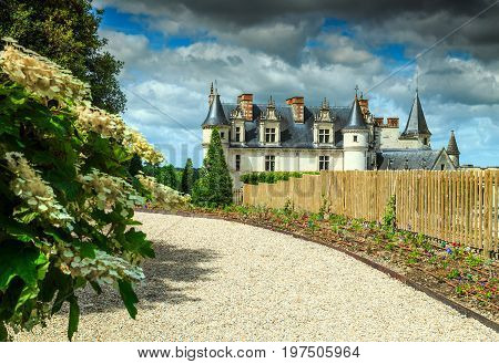 Spectacular ornamental garden of Amboise castle in the Loire Valley France Europe