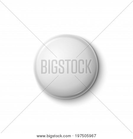 White glossy badge or web button. Vector blank badge isolated emblem.