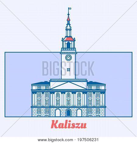 Poland Municipal house vector illustration in line art design. Townhall in Kalisz landmark emblem in linear style.