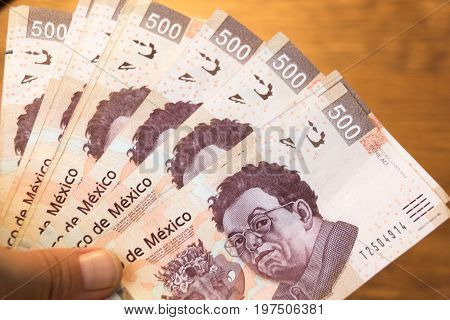 Five Hundred Mexican Pesos Bills Photograph