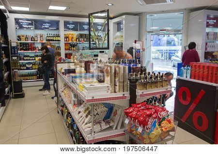 Medininkai Belarus - June 11 2017: Duty-free shop with low prices at the border crossing.