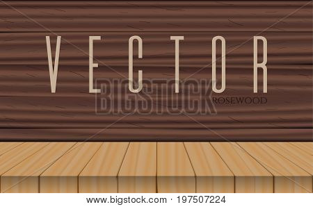 vector wood table top on rosewood wooden background