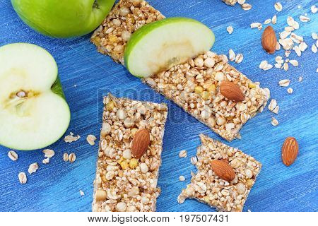 Cereal Bars Of Granola With Apples, Nuts And Honey