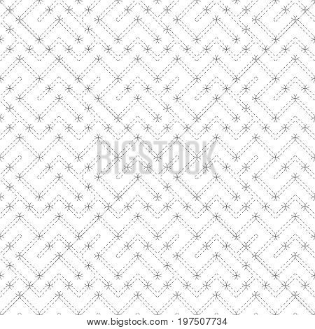 Vector seamless pattern. Modern stylish texture. Regularly repeating geometric grid with dashed thin zigzag lines. Abstract linear maze background. Graphical design element