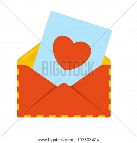 Red envelope with love letter. Heart shape. Sending mail correspondence. Flat vector cartoon illustration. Objects isolated on a white background.
