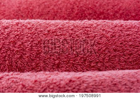 Abstract Textures: 3 Rolled Up Red Bath Towel