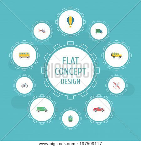 Flat Icons Carriage, Jeep, Omnibus And Other Vector Elements