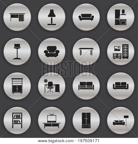 Set Of 16 Editable Interior Icons. Includes Symbols Such As Divan, Trestle, Cuisine And More