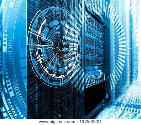 technology, cyberspace and virtual reality concept - hologram of technological background