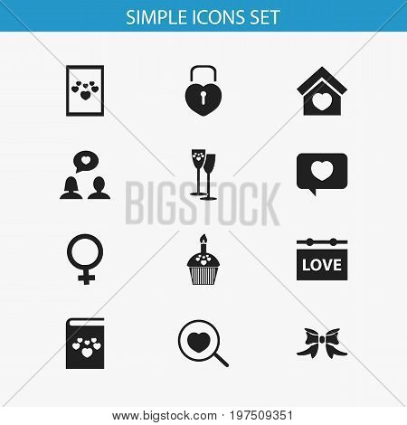 Set Of 12 Editable Amour Icons. Includes Symbols Such As Butterfly, Textbook, Celebration And More