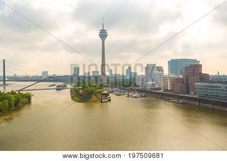 Aerial view Dusseldorf during morning. Media harbor Dusseldorf.