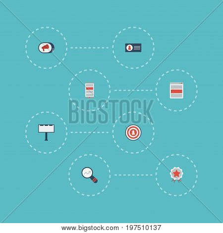 Flat Icons Market, Award, Audience And Other Vector Elements