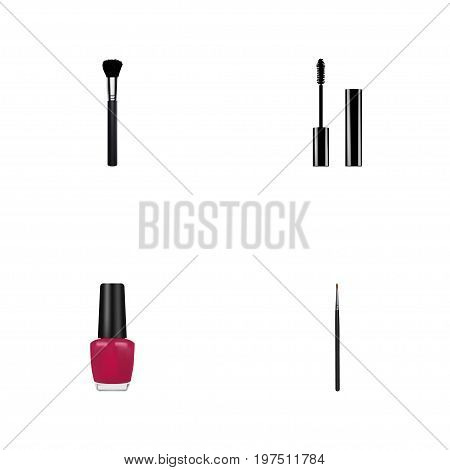 Realistic Varnish, Eyelashes Ink, Fashion Equipment And Other Vector Elements