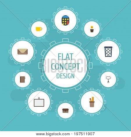 Flat Icons Board Stand, Whiteboard, Plant Pot Vector Elements