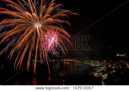 Artificial fireworks in Arenzano in the Ligurian Riviera of Ponente on the occasion of the feast of San Nazario and Celso.