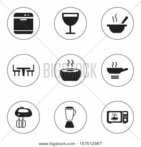 Set Of 9 Editable Restaurant Icons. Includes Symbols Such As Stewpot, Whisk, Bowl And More
