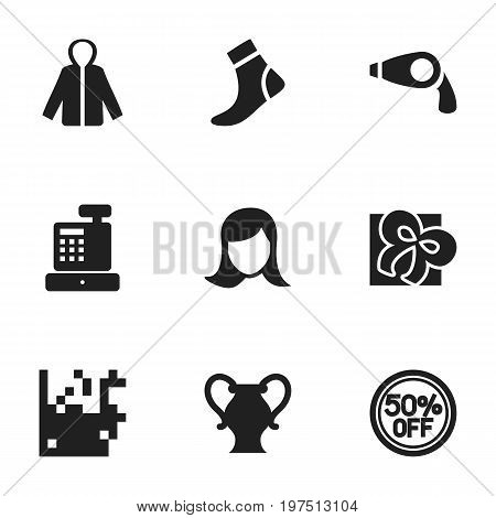 Set Of 9 Editable Shopping Icons. Includes Symbols Such As Cash Drawer, Amphora, Rebate And More