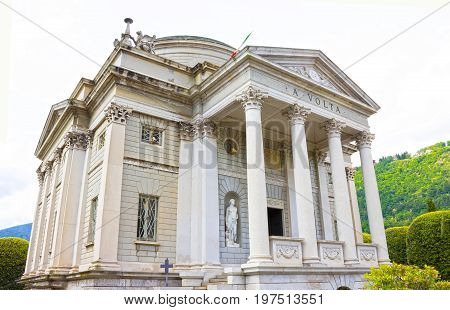 Como, Italy - May 03, 2017: The museum of Como called Volta Temple and dedicated to the scientist Alessandro Volta who invented the electrical battery. Image was created at Como, Italy on May 03, 2017