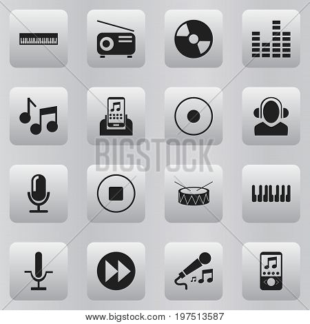 Set Of 16 Editable Media Icons. Includes Symbols Such As Break Music, Disc, Dj And More