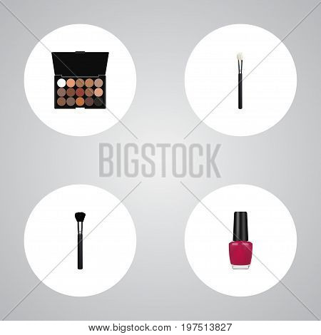 Realistic Fashion Equipment, Powder Blush, Varnish And Other Vector Elements