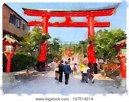 Digital watercolor painting of a Tori gate the entrance to Fushimi Inari Shrine in Kyoto Japan on a sunny day.