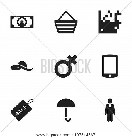 Set Of 9 Editable Business Icons. Includes Symbols Such As Cash, Sale Label, Cellphone And More