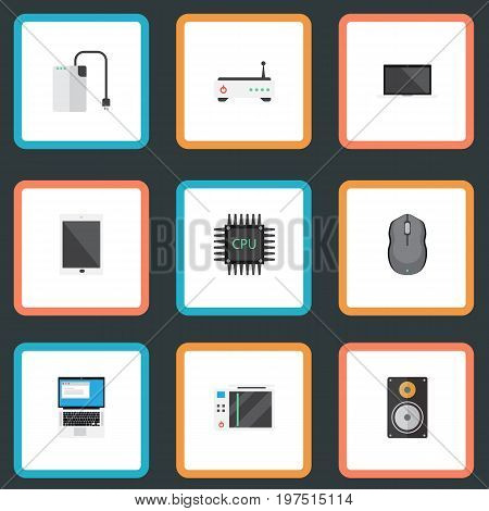 Flat Icons Microprocessor, Palmtop, Slot Machine And Other Vector Elements