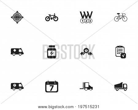 Set Of 12 Editable Mixed Icons. Includes Symbols Such As Protein, Camion, Velocipede And More