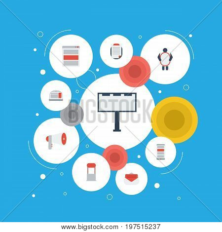 Flat Icons Megaphone, Laptop, Customer Summary And Other Vector Elements