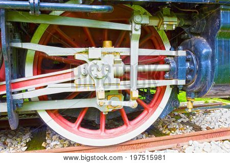 The Grunge old steam locomotive wheel and rods