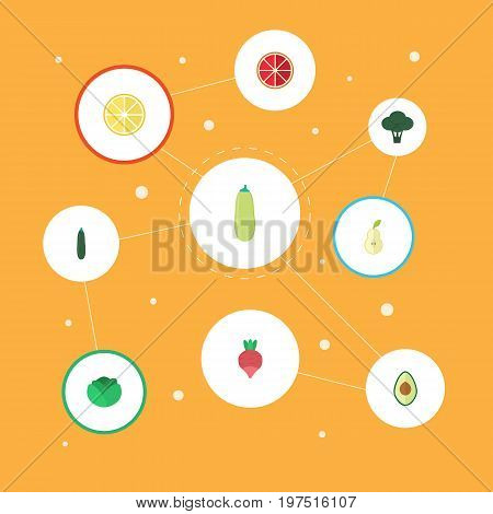 Flat Icons Cauliflower, Salad, Cabbage And Other Vector Elements